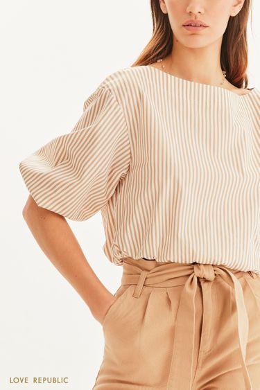 Укороченная блузка с вырезом лодочкой 1255052331
