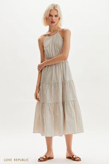 Платье-макси с акцентной юбкой 1255054510