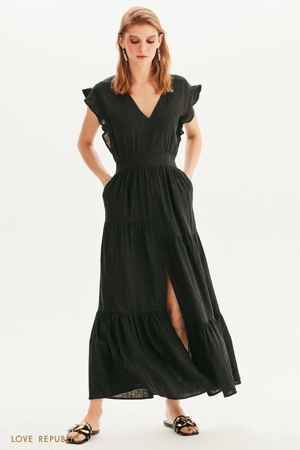 Платье макси с ярусным подолом 1255003509-1