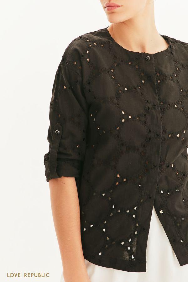 Блузка с перфорацией и вышивкой ришелье 1255020321-1