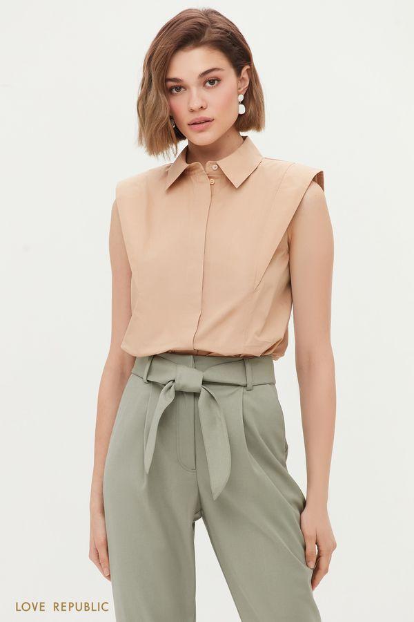 Хлопковая блузка с подплечниками 1255049330-62