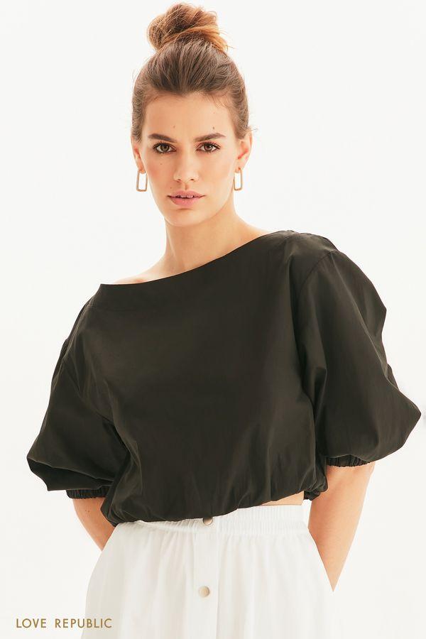 Укороченная блузка с вырезом лодочкой 1255050331-50
