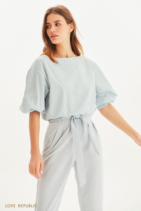 Укороченная блузка с вырезом лодочкой 1255051331-42