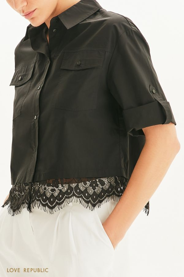 Укороченная блузка с кружевом 1255058355-50