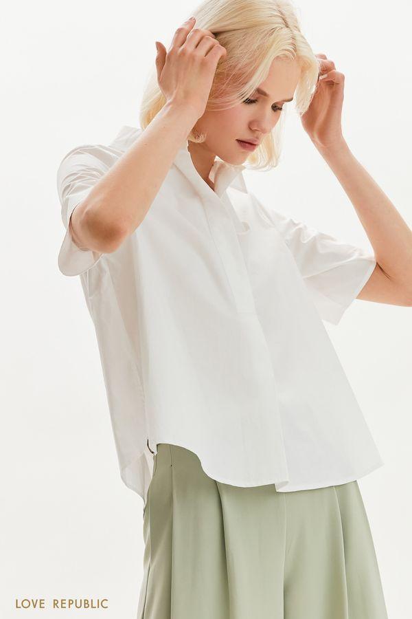 Хлопковая блузка свободного кроя 1255059356-1