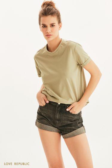 Oversize футболка с вышивкой 1255115341
