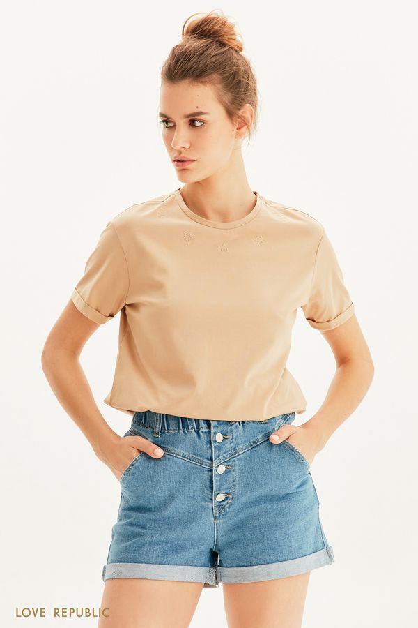 Oversize футболка с вышивкой 1255115341-50
