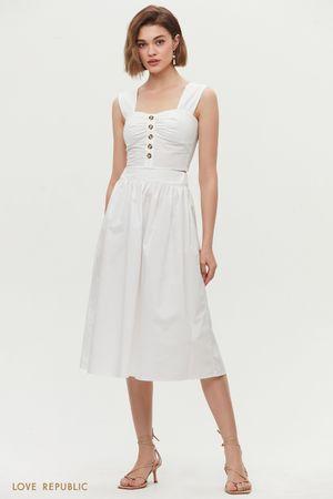 Базовая юбка миди на резинке