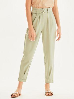 Однотонные брюки с высокой посадкой