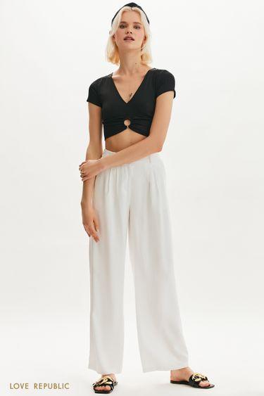 Широкие брюки с поясом на резинке 1255218720