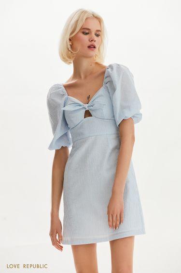 Платье-мини с комбинированным кроем 1255226552