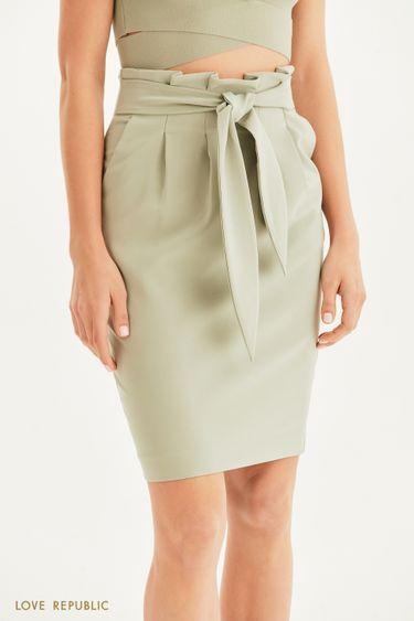 Базовая юбка-карандаш с поясом 1255231205
