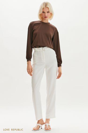 Прямые брюки с текстильным поясом 1255265760