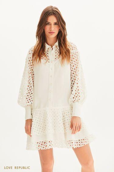 Платье свободного кроя с вышивкой ришелье 1255269534