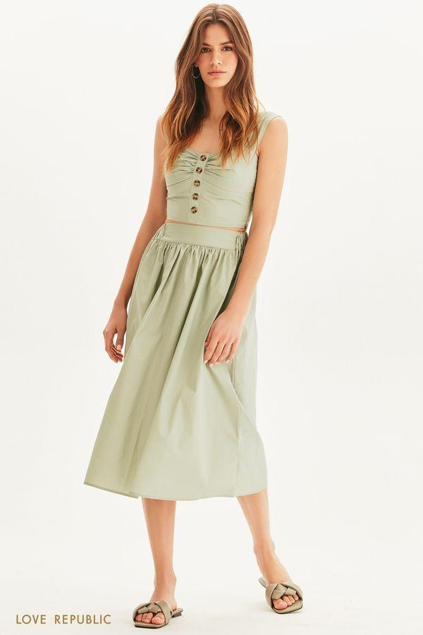 Базовая юбка миди на резинке 1255202202-1