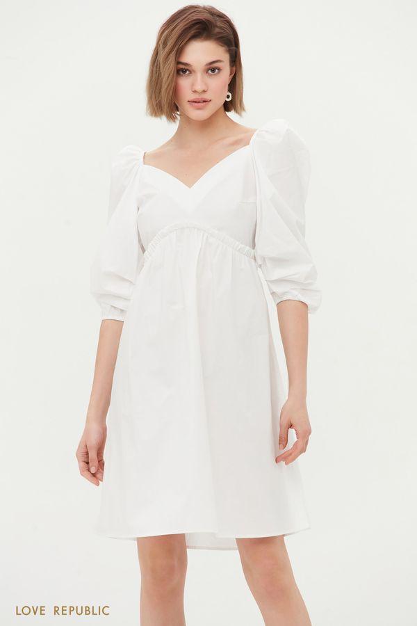 Хлопковое платье с завышенной талией 1255202537-50