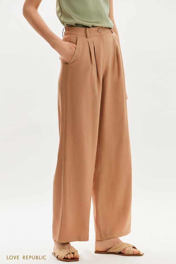 Широкие брюки с поясом на резинке 1255218720-13