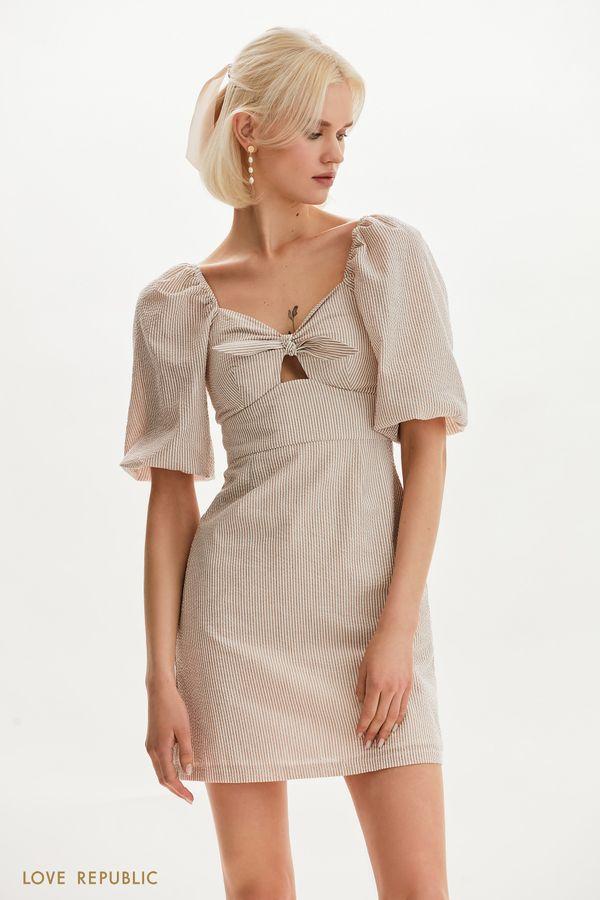Платье мини с комбинированным кроем 1255226552-74