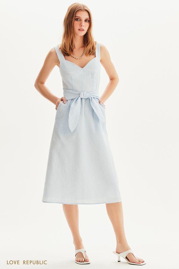 Легкое платье миди в полоску 1255226553-42