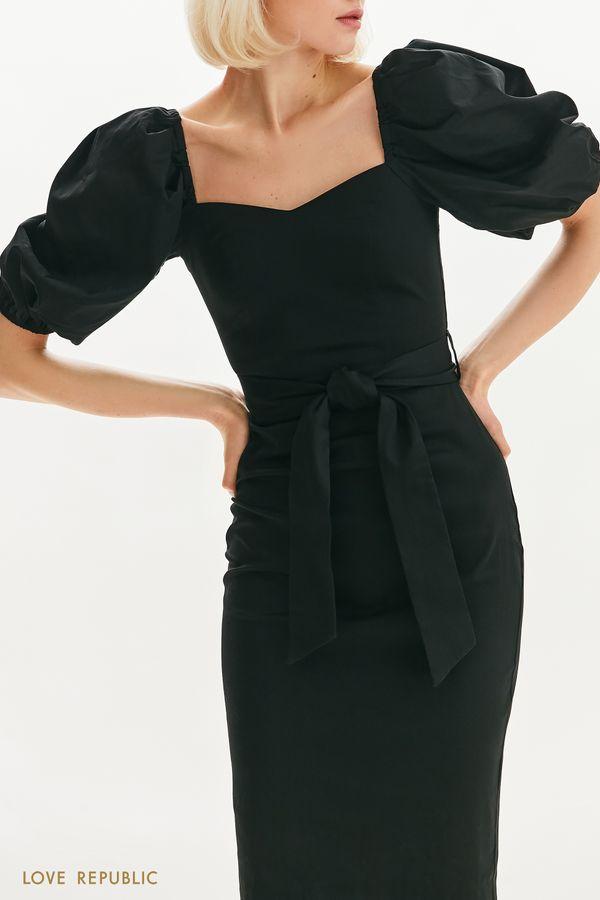 Приталенное платье с пышными рукавами 1255251582-60