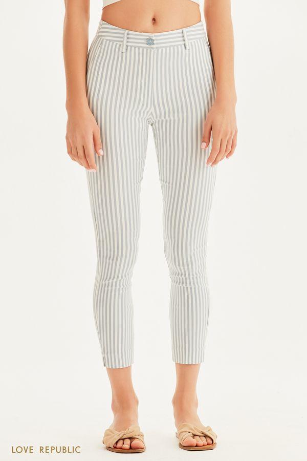 Зауженные брюки в полоску 1255254734-14