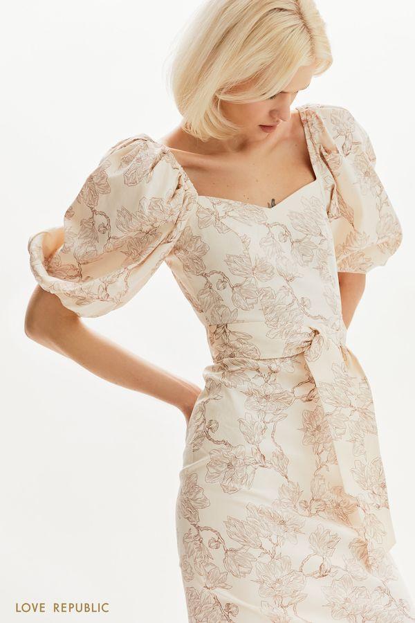 Приталенное платье с пышными рукавами 1255257582-65