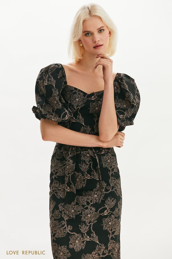 Приталенное платье с пышными рукавами 1255258582-54