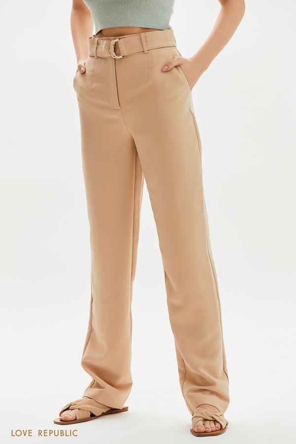 Прямые брюки с текстильным поясом 1255265760-60