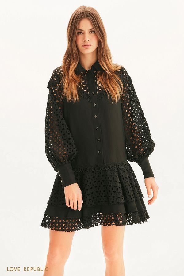 Платье свободного кроя с вышивкой ришелье 1255269534-50