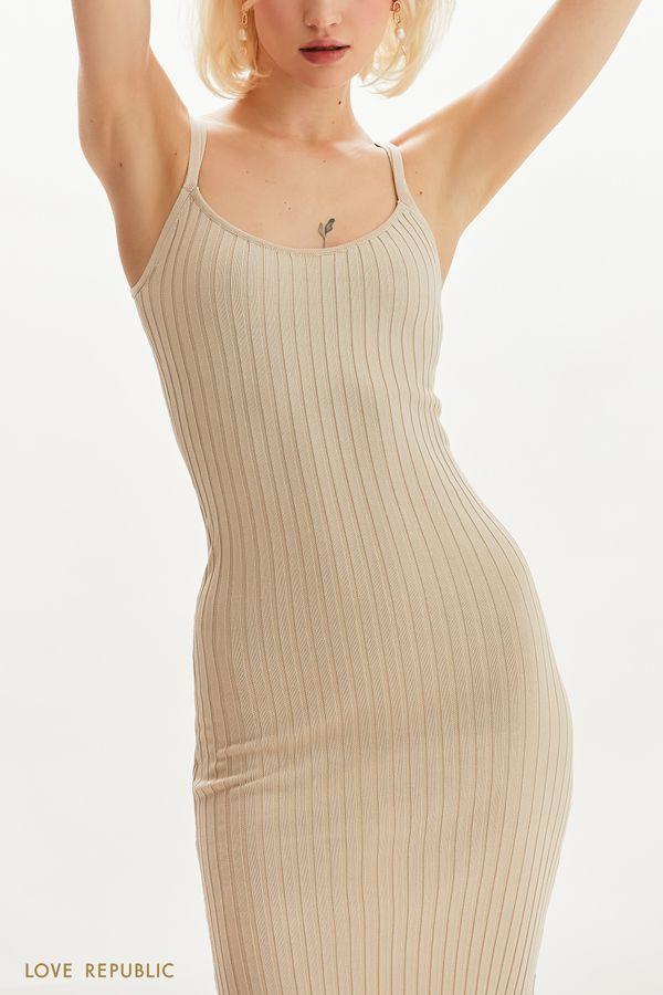 Трикотажное платье в рубчик на тонких бретельках 1255307577-66