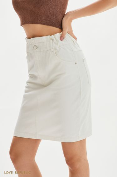 Джинсовая юбка мини на резинке 1255401201