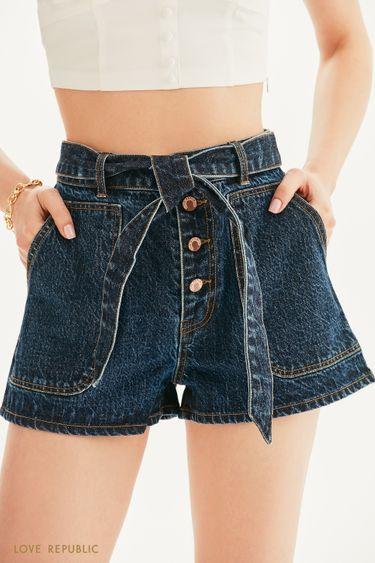 Джинсовые шорты с накладными карманами и поясом 1255428740