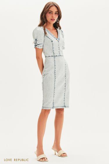 Платье-футляр из вареного денима 1255443585