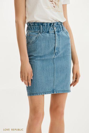 Джинсовая мини-юбка с фигурной кулиской 1255444201