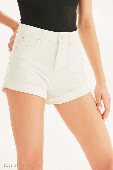 Короткие джинсовые шорты с отворотами 1255446753