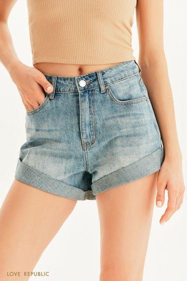 Короткие джинсовые шорты с отворотами 1255447753