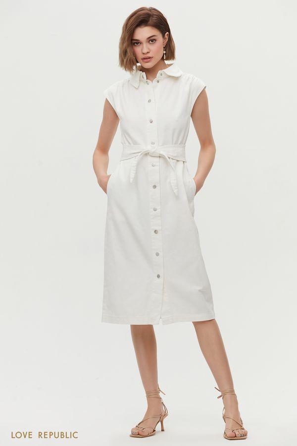 Платье-рубашка из денима 1255432570-1