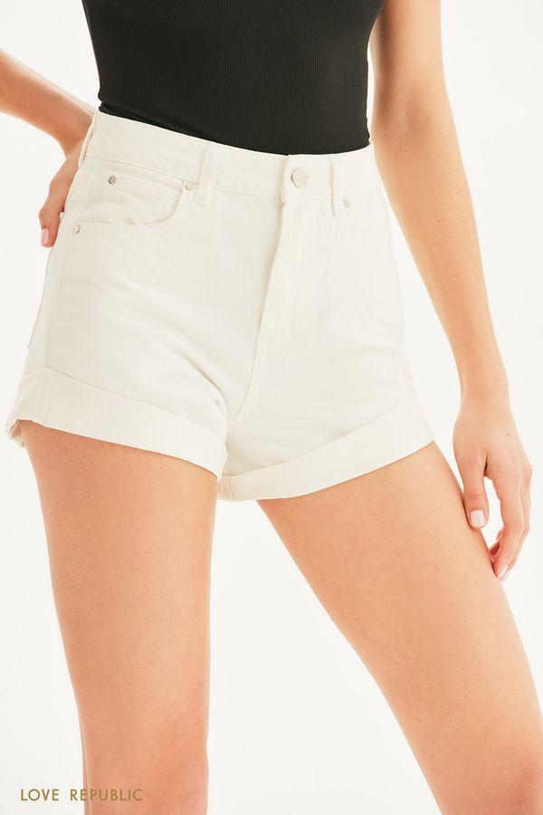 Короткие джинсовые шорты с отворотами 1255446753-1