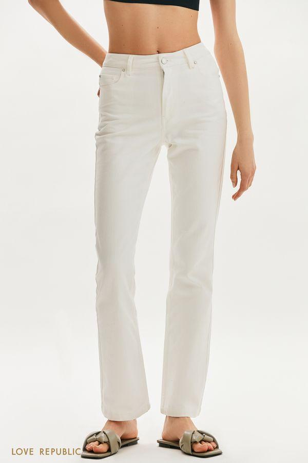 Белые джинсы клеш со стрелками 1255450755-1