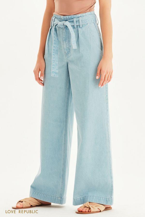 Широкие джинсы с высокой посадкой 1255452756-101