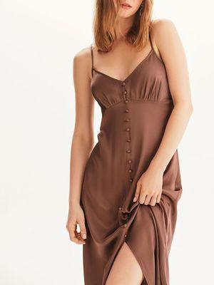 Платье-комбинация с декоративными пуговицами
