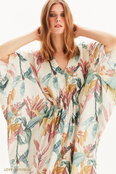 Платье с цветочным рисунком и рукавом летучая мышь  1256018514