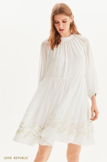 Шифоновое платье с золотой вышивкой 1256019515