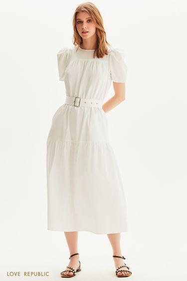 Хлопковое платье макси с поясом 1256021517
