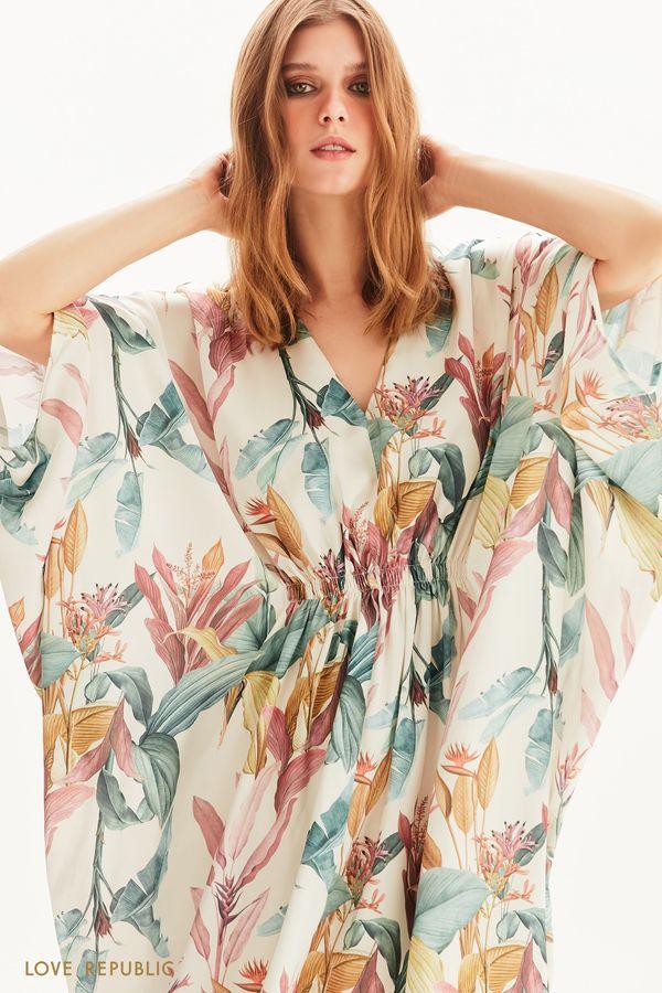 Платье с цветочным рисунком и рукавом летучая мышь 1256018514-25