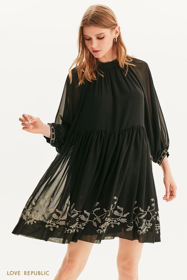 Шифоновое платье с золотой вышивкой 1256019515-1