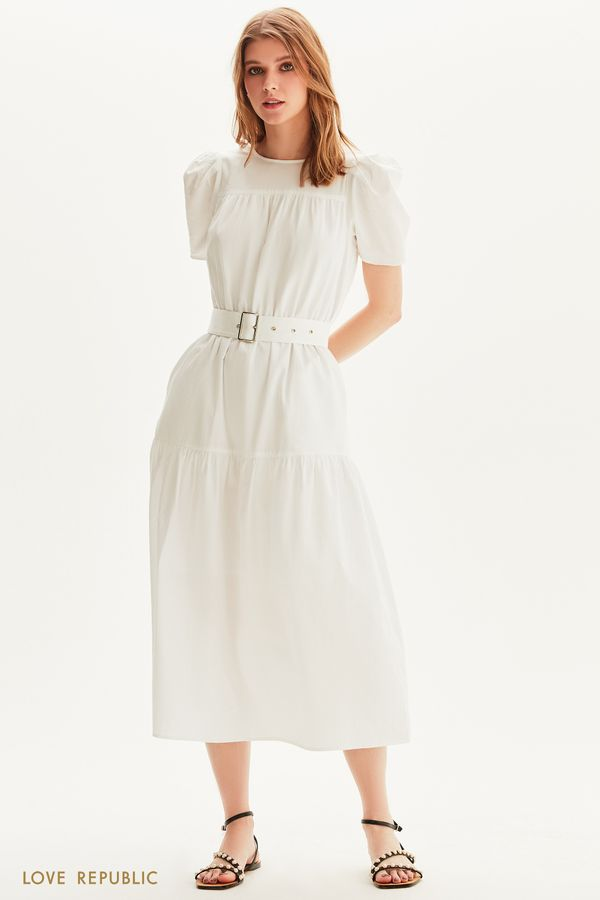 Хлопковое платье макси с поясом 1256021517-1