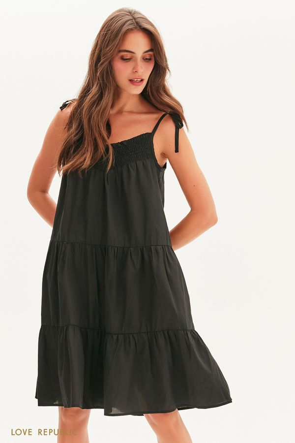 Хлопковое платье-сарафан на завязках 1256039520-50