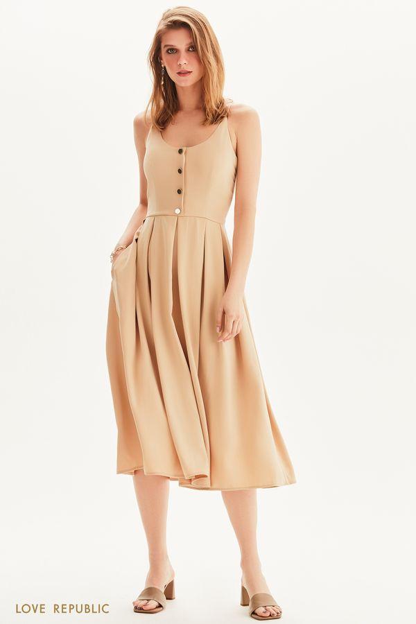 Платье миди с золотистыми пуговицами 1256058530-62