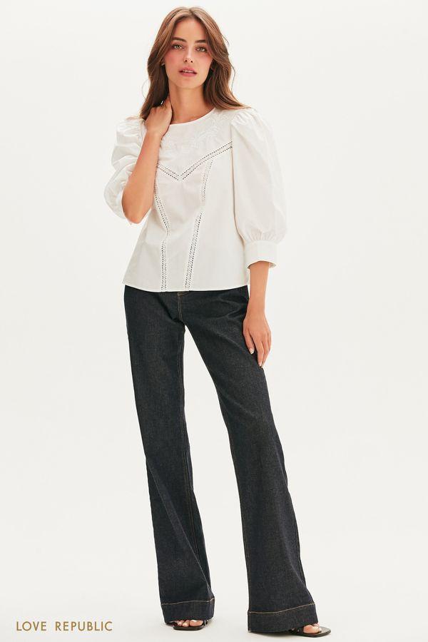 Романтичная блузка с кружевом 1256083380-50